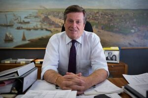 TORONTO, ON - SEPTEMBER 3: Mayor John Tory sits downs with Toronto Star reporters David Rider and Jennifer Pagliaro for an interview in his office. (Melissa Renwick/Toronto Star via Getty Images)